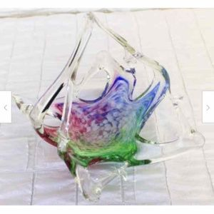 Handblown Art Glass Basket Clear Red Blue Green Wh